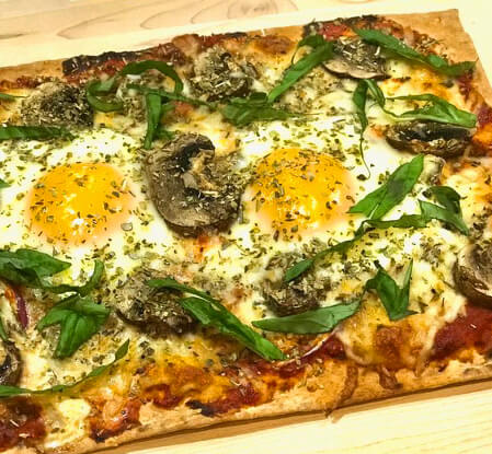 Lavash Pizza with Cracked Eggs