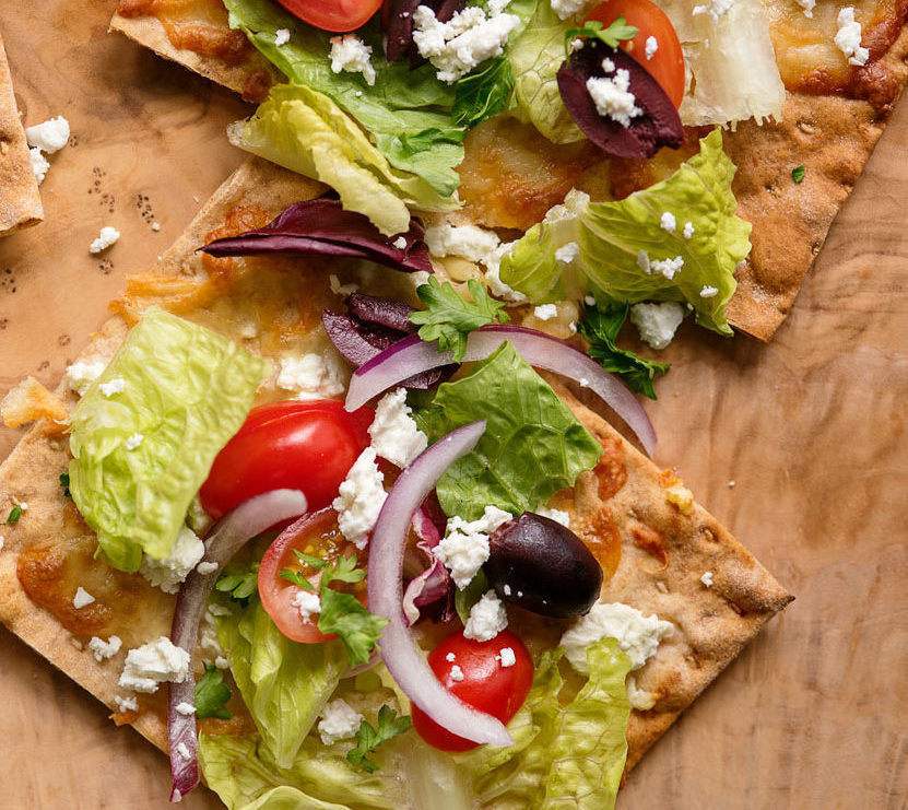 Greek Salad Lavash Pizza
