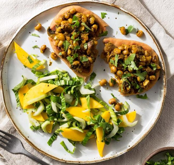 Black-Eyed Pea Naan with Mango and Bok Choy Salad